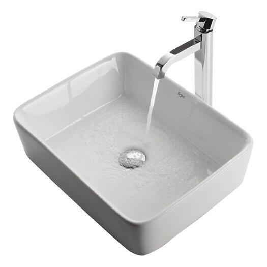 Kraus Ceramic Rectangular Bathroom Sink & Ramus Single Lever Faucet
