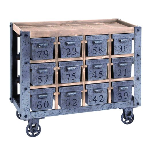 Woodland Imports Kitchen Cart with Wood Top