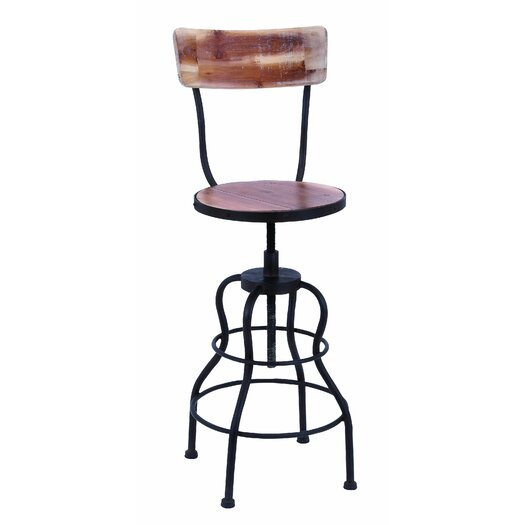 Woodland Imports Old Look Adjustable Height Bar Stool