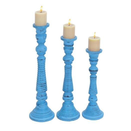 Woodland Imports Wood Candlesticks