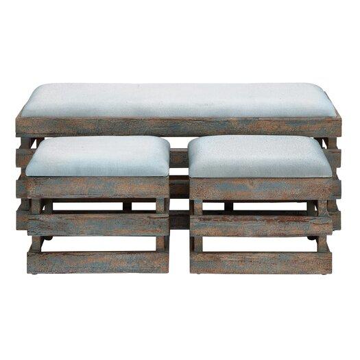 Woodland Imports 3 Piece Wood Leather Stool Set