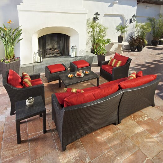 RST Brands Cantina Deco 8 Piece Deep Seating Group in Espresso with Cushions
