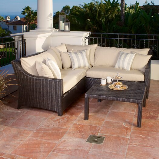 RST Brands Slate Deco 4 Piece Deep Seating Group with Cushions