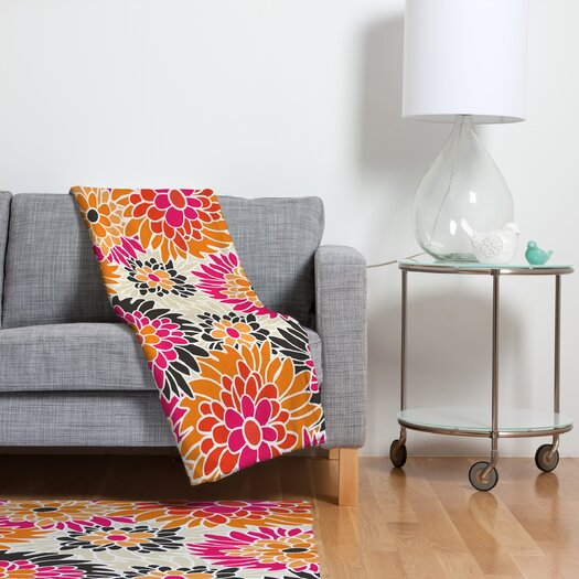 DENY Designs Andrea Victoria Summer Tango Floral Polyesterrr Fleece Throw Blanket