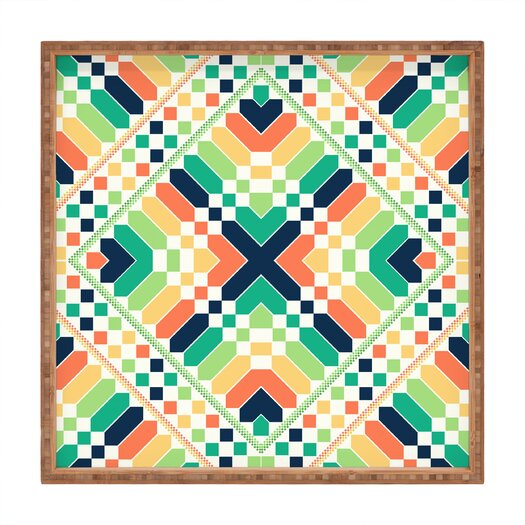 DENY Designs Budi Kwan Retrographic Rainbow Square Tray