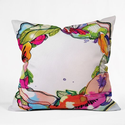 DENY Designs CayenaBlanca Floral Frame Polyester Throw Pillow