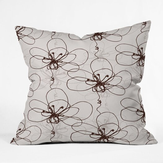 DENY Designs Rachael Taylor Tonal Floral Indoor / Outdoor Polyester Throw Pillow