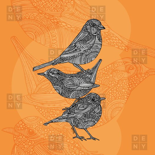DENY Designs Valentina Ramos Polyester 3 Little Birds Shower Curtain