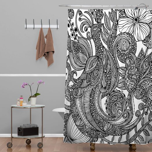 DENY Designs Valentina Ramos Woven Polyester Bird in Flowers Shower Curtain