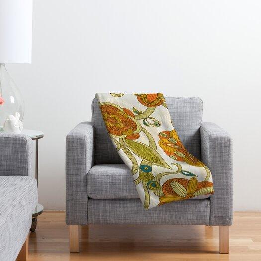 DENY Designs Valentina Ramos Orange Flowers Polyester Fleece Throw Blanket