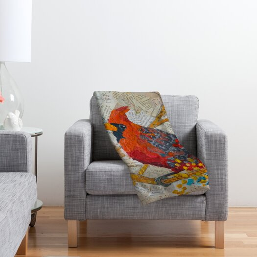 DENY Designs Elizabeth St Hilaire Nelson Cardinal On White Polyester Fleece Throw Blanket