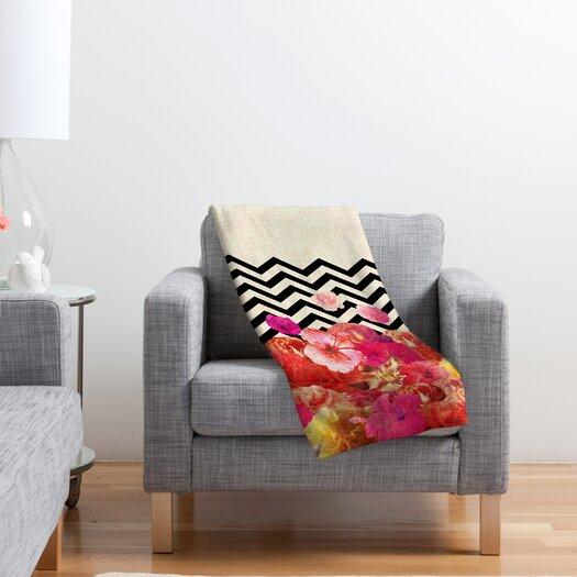 DENY Designs Bianca Green Chevron Flora 2 Polyester Fleece Throw Blanket