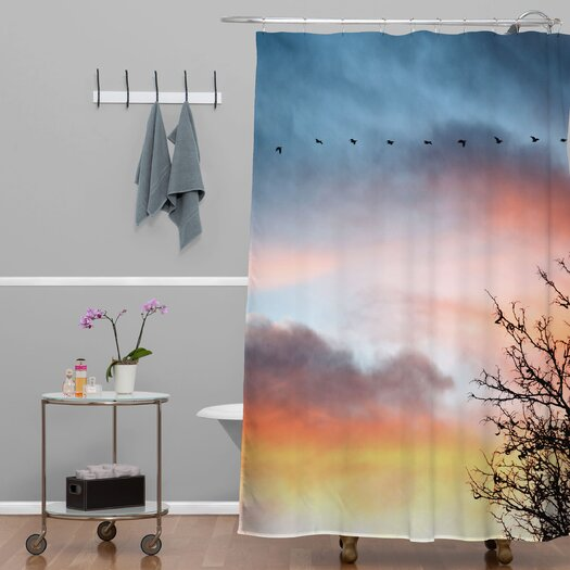 DENY Designs Bird Wanna Whistle Woven Polyester Bird Line Shower Curtain