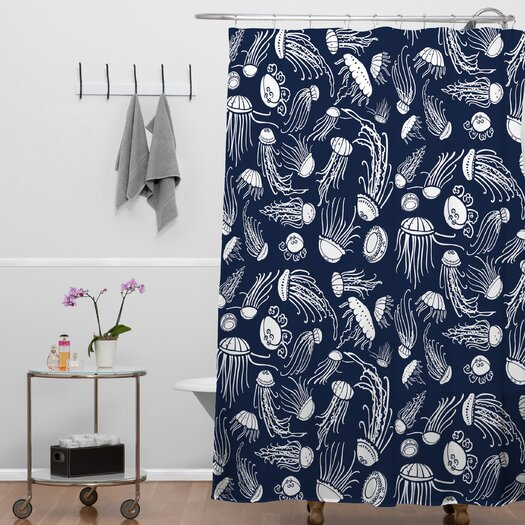 DENY Designs Jennifer Denty Woven Polyester Jellyfish Shower Curtain