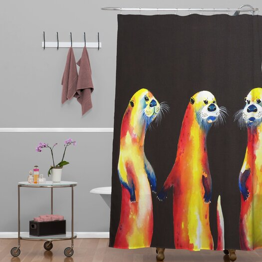 DENY Designs Clara Nilles Woven Polyester Flaming Otters Shower Curtain