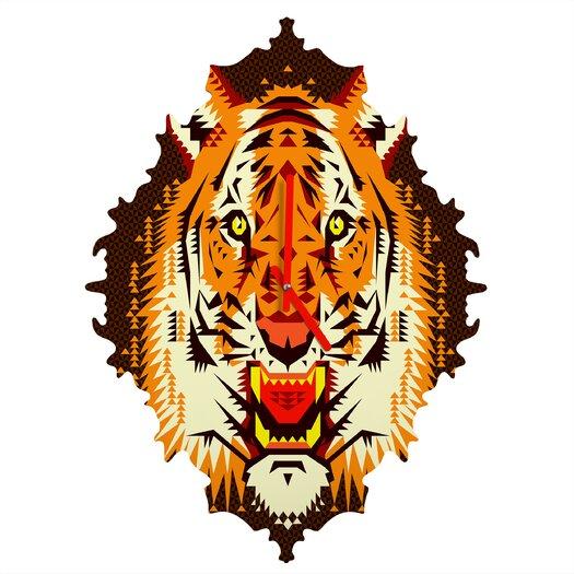 DENY Designs Chobopop Geometric Tiger Wall Clock