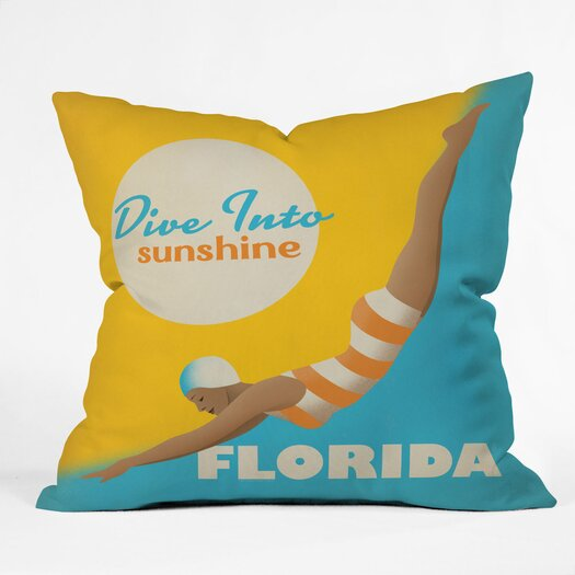 DENY Designs Anderson Design Group Dive Florida Indoor/Outdoor Polyester Throw Pillow