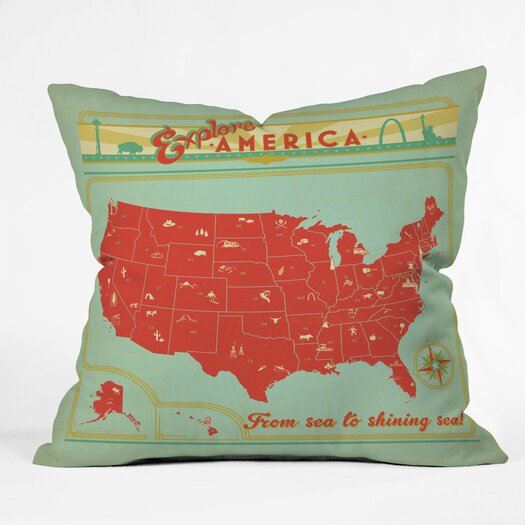DENY Designs Anderson Design Group Explore America Indoor/Outdoor Polyester Throw Pillow