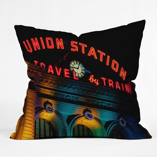 DENY Designs Bird Wanna Whistle Union Station Woven Polyester Throw Pillow