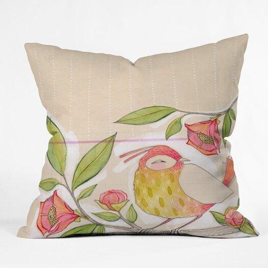 DENY Designs Cori Dantini Little Bird On A Flowery Branch Woven Polyester Throw Pillow