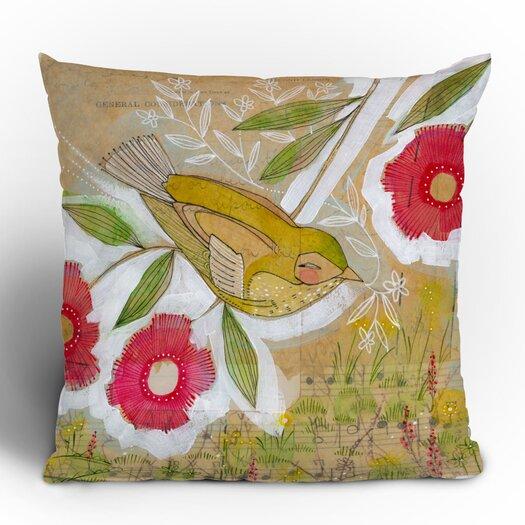 DENY Designs Cori Dantini Sweet Meadow Bird Woven Polyester Throw Pillow
