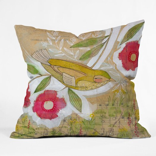 DENY Designs Cori Dantini Sweet Meadow Bird Indoor/OCori Dantini Sweet Meadow Bird Indoor / Outdoor Polyester Throw Pillow
