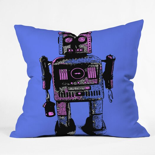 DENY Designs Romi Vega Lantern Robot Polyester Throw Pillow