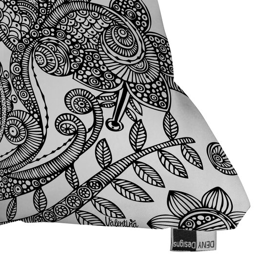 DENY Designs Valentina Ramos Bird In Flowers Black White Indoor/Outdoor Polyester Throw Pillow