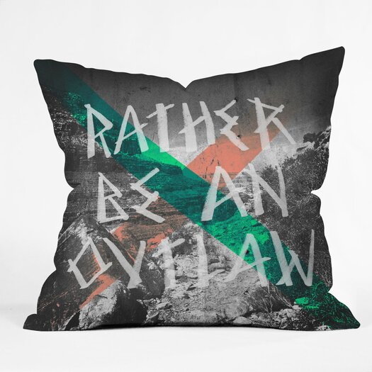 DENY Designs Wesley Bird Rather Be an Outlaw Polyester Throw Pillow