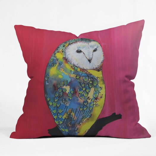 DENY Designs Clara Nilles Owl On Lipstick Indoor / Outdoor Polyester Throw Pillow