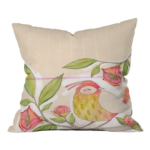 DENY Designs Cori Dantini Little Bird On A Flowery Branch Woven Polyester Throw Pillow