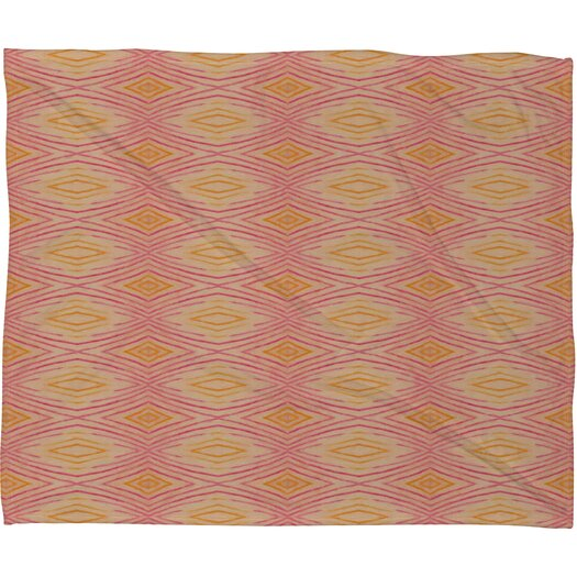 DENY Designs Cori Dantini Orange Ikat 4 Polyester Fleece Throw Blanket