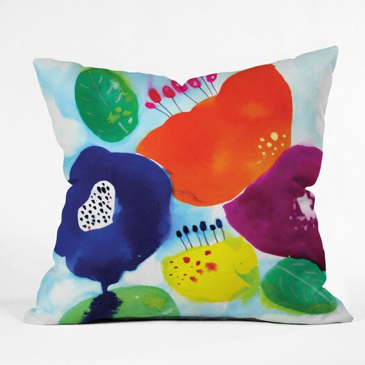 DENY Designs Cayena Blanca Big Flowers Polyester Throw Pillow
