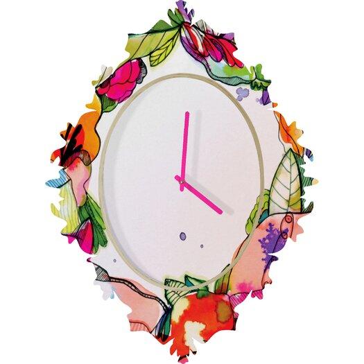 DENY Designs CayenaBlanca Floral Frame Wall Clock