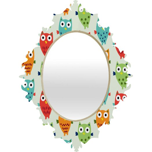 DENY Designs Andi Bird Owl Fun Baroque Mirror