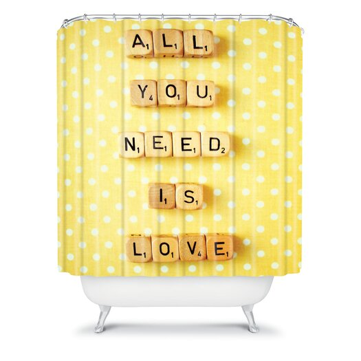 DENY Designs Happee Monkee All You Need Is Love Shower Curtain