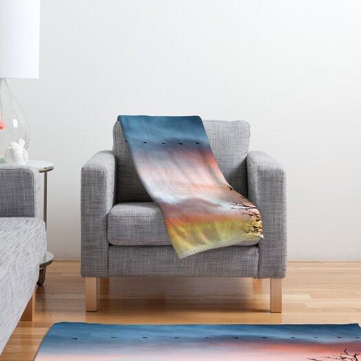 DENY Designs Bird Wanna Whistle Bird Line Polyester Fleece Throw Blanket