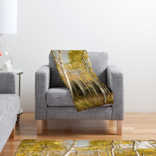 DENY Designs Bird Wanna Whistle Golden Aspen Polyester Fleece Throw Blanket