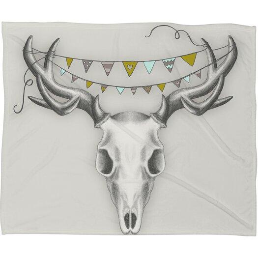 DENY Designs Wesley Bird Skull Polyester Fleece Throw Blanket