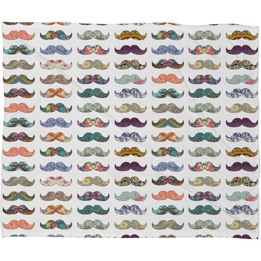 DENY Designs Bianca Green Mustache Mania Polyester Fleece Throw Blanket