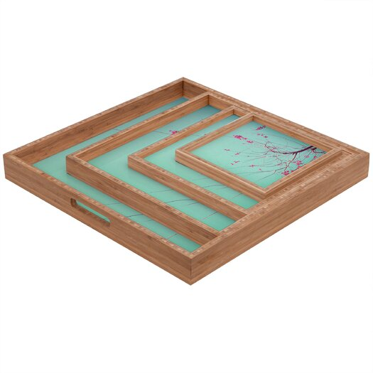 DENY Designs Happee Monkee Red Stars Square Tray