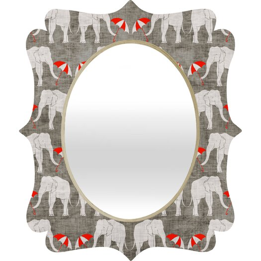 DENY Designs Holli Zollinger Elephant and Umbrella Quatrefoil Mirror