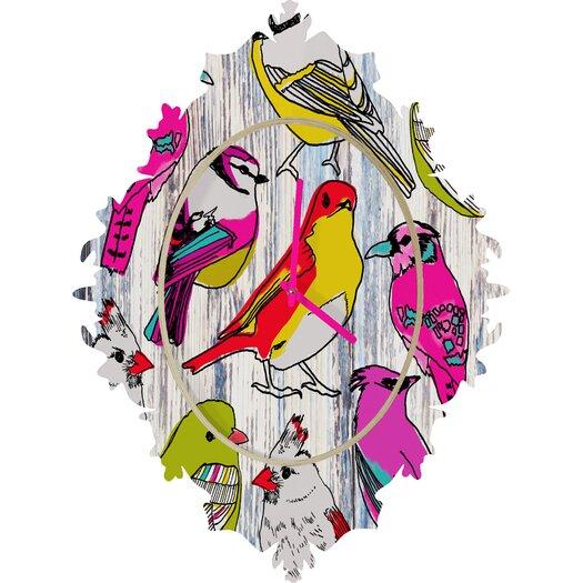 DENY Designs Mary Beth Freet Home Birds Wall Clock