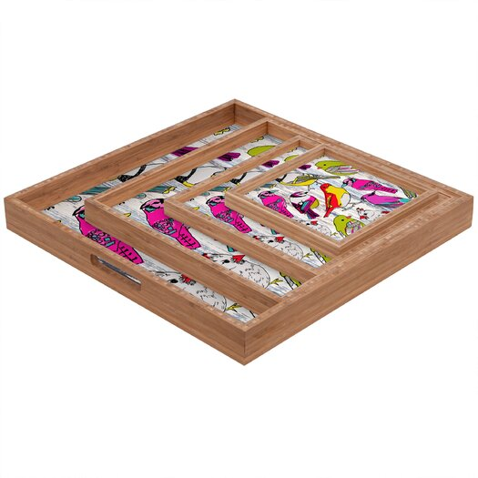 DENY Designs Mary Beth Freet Couture Home Birds Square Tray