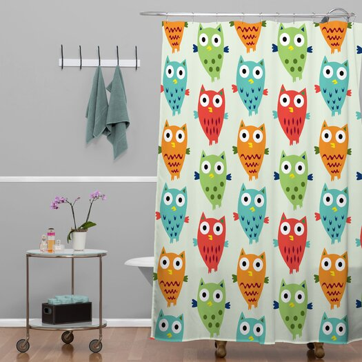 DENY Designs Andi Bird Woven Polyester Owl Fun Shower Curtain
