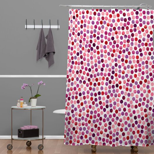 DENY Designs Garima Dhawan Polyester Watercolor Dots Berry Shower Curtain