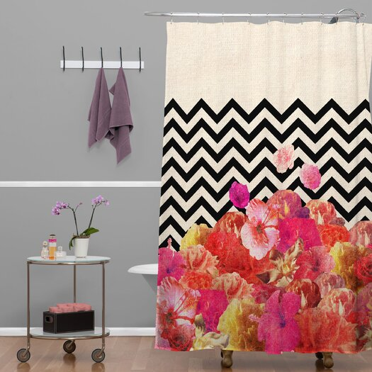 DENY Designs Bianca Chevron Flora 2 Polyester Shower Curtain
