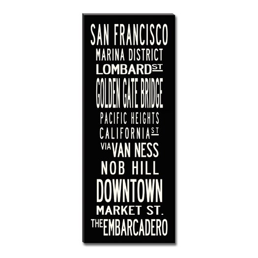 Uptown Artworks San Francisco Textual Art Giclee Printed on Canvas