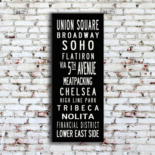 Uptown Artworks Union Square Textual Art Giclee Printed on Canvas