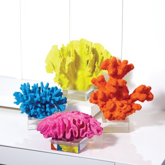Two's Company 4 Piece Watercolors Reef Coral Sculptures